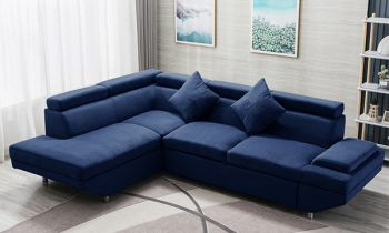 Furny Alimo LHS Four Seater L Shape Sofa Set (Blue)