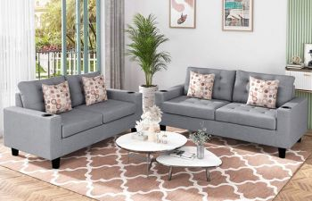 Furny Alizo 3+2 Sofa Set (Light Grey)