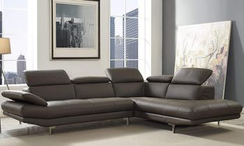 Furny Alvinster  Five Seater RHS L Shape Sofa Set in Leatherette with Adjustable Headrest & Armrest (Grey)