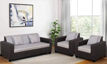 Furny Astiano Five Seater Fabric 3+1+1 Sofa Set (Grey-Black)