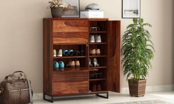 Furny Austra Teakwood Shoe Rack (Teak Polish)