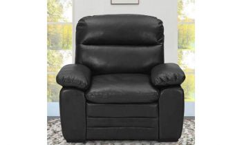 Furny Azarios One Seater Leatherette Sofa (Black)