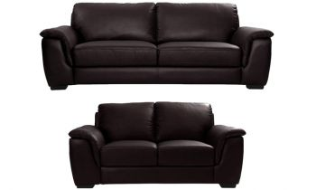 Furny Bane Five Seater 3+2 Sofa Set in Leatherette (Brown)