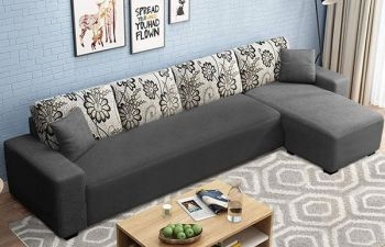 Furny Berlaan Fabric 5 Seater L Shape Sofa Set (Dark Grey)