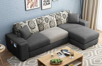 Furny Berlando 4 Seater Fabric L Shape Sofa Set in Dual Color (Dark Grey)