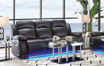 Furny Blazon Three Seater Recliner Sofa with LED Light (Black)