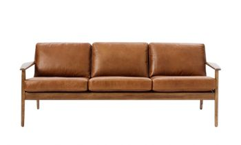 Furny Bradley Three Seater Leatherette Sofa (Brown)