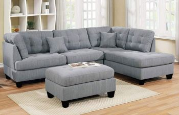 Furny Bragson 6 Seater Fabric L Shape Sofa Set (Light Grey)