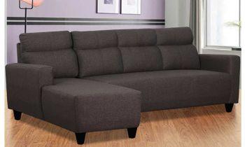 Furny Bravson Five Seater LHS L Shape Sofa Set in Fabric (Dark Grey)