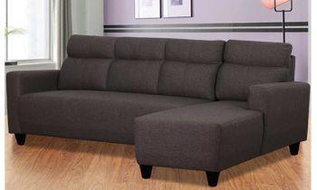 Furny Bravson FIve Seater RHS L Shape Sofa Set in Fabric (Dark Grey)
