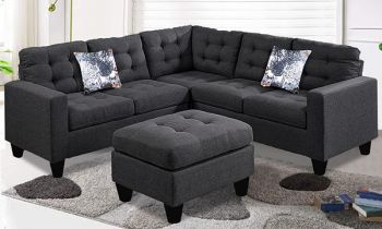 Furny Breccon Six Seater Corner L Shape Sofa Set in Fabric (Dark Grey)