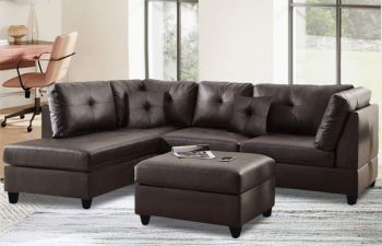 Furny Brenna Five Seater LHS L shape Sofa Set For Living Room (Brown)