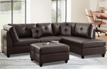 Furny Brenna Five Seater RHS L shape Sofa Set For Living Room (Brown)