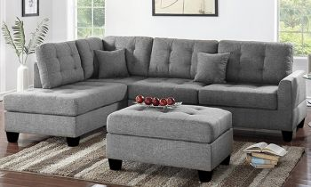 Furny Brenster Six Seater LHS L Shape Sofa Set (Light Grey)