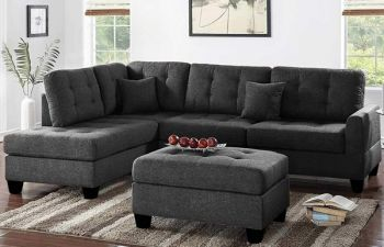 Furny Brenster LHS 6 Seater L Shape Sofa Set in Fabric (Dark Grey)