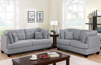 Furny 5 Seater Broncay 3+2 Sofa Set (Light Grey)
