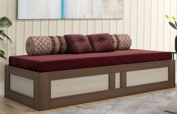 Furny Brons Engineered Wood Single Size Bed (Brown)