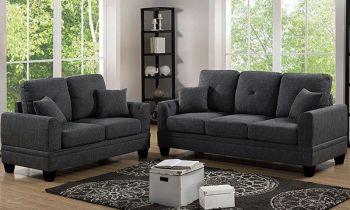 Furny Brooks Five Seater Fabric 3+2 Sofa Set (Dark Grey)