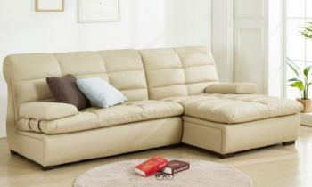Furny Cacia 4 Seater RHS L shape Sofa (Cream)