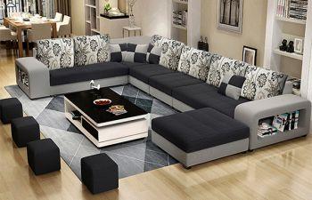 Furny Carbano 12 Seater Fabric Corner U Shaped Sofa Set with 4 Small Poufs (Dark Grey-Light Grey)