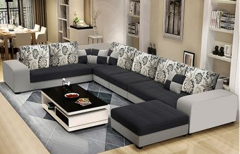 Furny Carbano 8 Seater Fabric Corner U Shaped Sofa Set (Dark Grey-Light Grey)