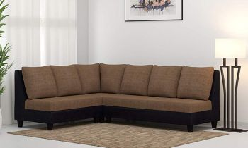 Furny Daisy Six Seater L shape Sofa Set  (Camel-Black )