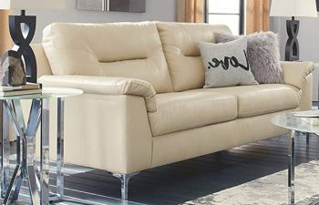 Furny 3 Seater Casventa Leatherette Sofa Set with Comfy-Fluffy Back Support (Cream)