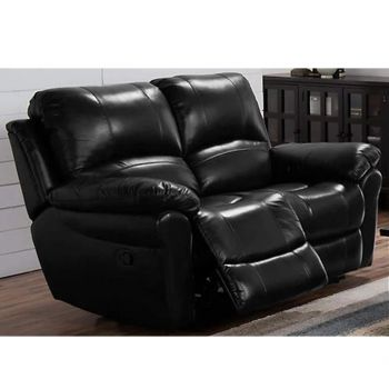 Furny Cobe Two Seater Recliner Sofa in Leatherette (Black)