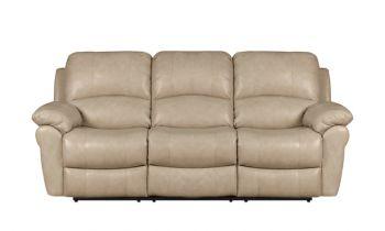 Furny Cobe Three seater Recliner Sofa in Leatherette (Dark Cream)