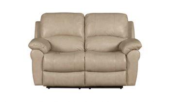 Furny Cobe Two seater Recliner Sofa in Leatherette (Dark Cream)