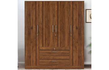 Furny Cosmon Engineered Wood 4 Door Wardrobe with Middle Drawers