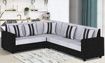 Furny Cosmosito Six Seater Corner L Shape Sofa Set (Grey-Black)