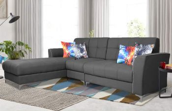Furny 6 Seater Elvon Fabric L Shape Sofa Set (Dark Grey)