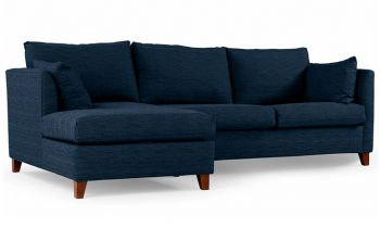 Furny Farina Four Seater L shape LHS Sofa (Dark Blue)