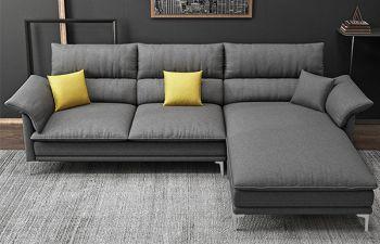 Furny Fronssy 4 Seater Fabric L Shape Sofa Set- (Dark Grey)