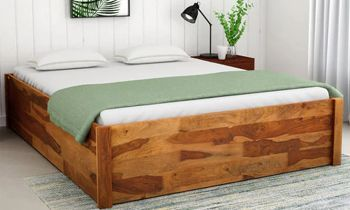 Furny Ankelo Teak Wood Bed with Box Storage (Teak Polish)