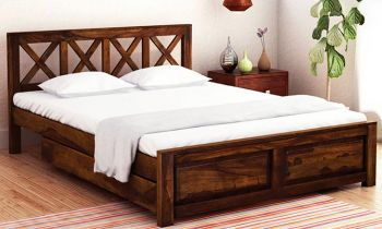 Furny Christy Teak Wood Bed with Drawer Storage (Teak Polish)