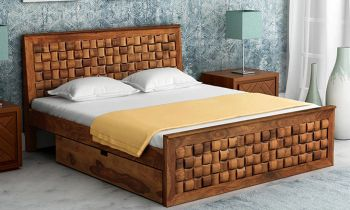 Furny Crystalin Teak Wood Bed with Drawer Storage (Teak Polish)