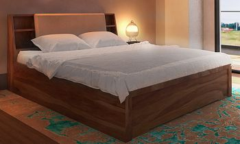 Furny Donatona Teak Wood Bed with Box Storage (Teak Polish)