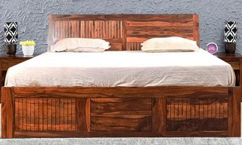 Furny Ferina Teak Wood Bed with Box Storage (Teak Polish)