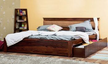 Furny Furniso Teak Wood Bed with Drawer Storage (Teak Polish)