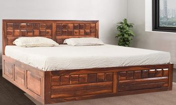 Furny Helsin Teak Wood Bed with Box Storage (Teak Polish)