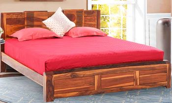 Furny Moderniza Teak Wood Bed without Storage (Teak Polish)