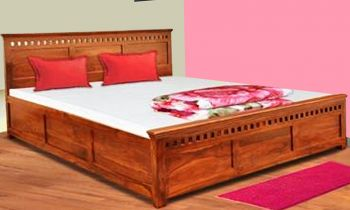 Furny Proferso Teak Wood Bed with Box Storage (Teak Polish)