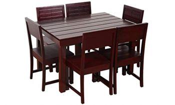 Furny Taj 6 Seater Dining Table Set (Mahogany Polish)