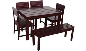 Furny Taj 6 Seater with Bench Dining Table Set (Mahogany Polish)