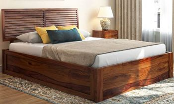 Furny Torleno Teak Wood Bed with Box Storage (Teak Polish)