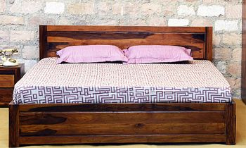 Furny Volnaro Teak Wood Bed with Drawer Storage (Teak Polish)