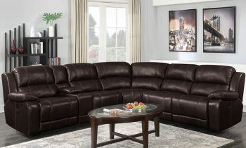 Furny Chester Six Seater Leatherette Corner Recliner Sofa Set (Brown)