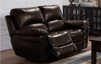 Furny Cobe Two seater Recliner Sofa in Leatherette (Brown)